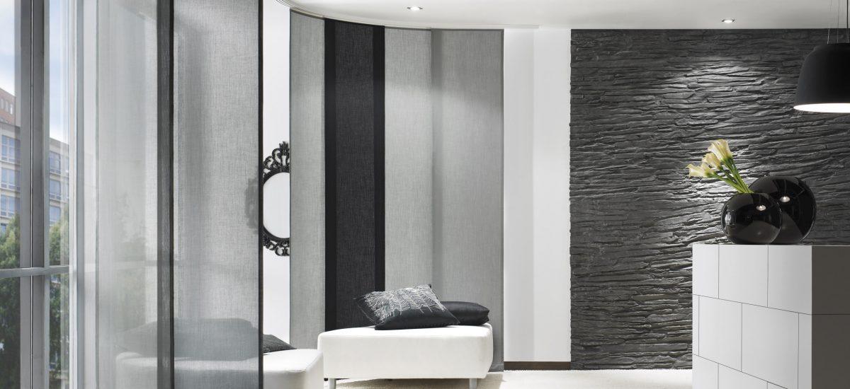 Flächenvorhang grau / schwarz